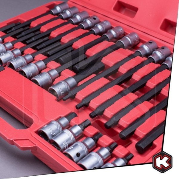"Set chiavi a bussola esagonali da 1/2"", 30 pezzi."